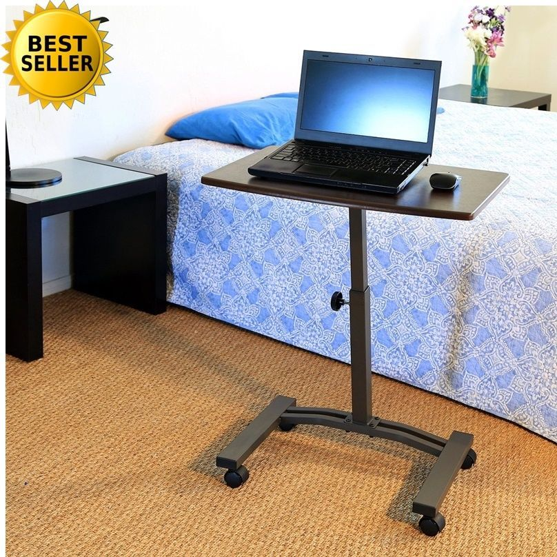 Laptop Desk Cart Over Bed Station Table Top Rolling Casters Wheel
