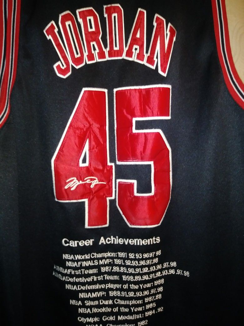 sports shoes 33616 2027b CHICAGO BULLS Micheal Jordan #45 Jersey with Career ...