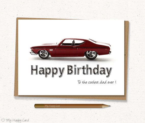 Dad birthday card Printable 5 X7 Digital file Instant – Birthday Cards with Cars