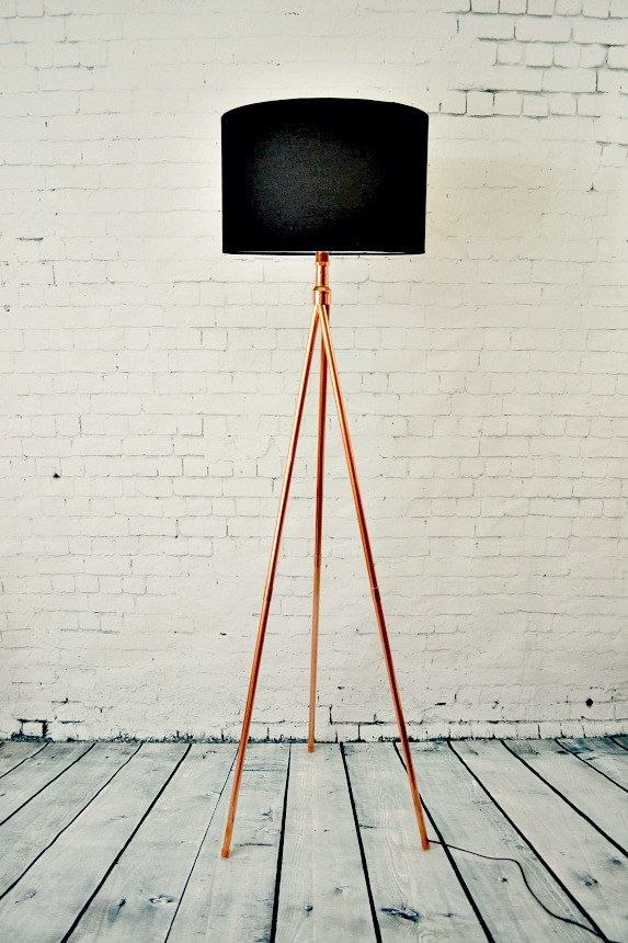 Floor Lamp   Handmade Copper Pipe Tripod Tall Standing Floor Lamp Base By  AtDCopperCreations On Etsy