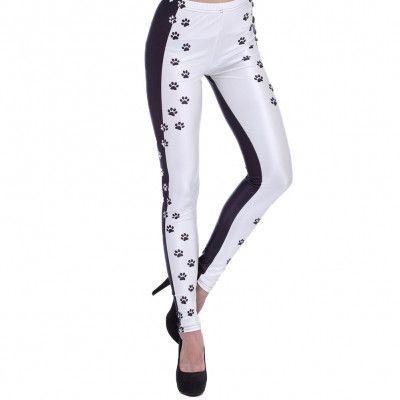 bfc556058b41d3 Black & White Dog Paws Pattern Print Skinny Leggings | Fashion and ...