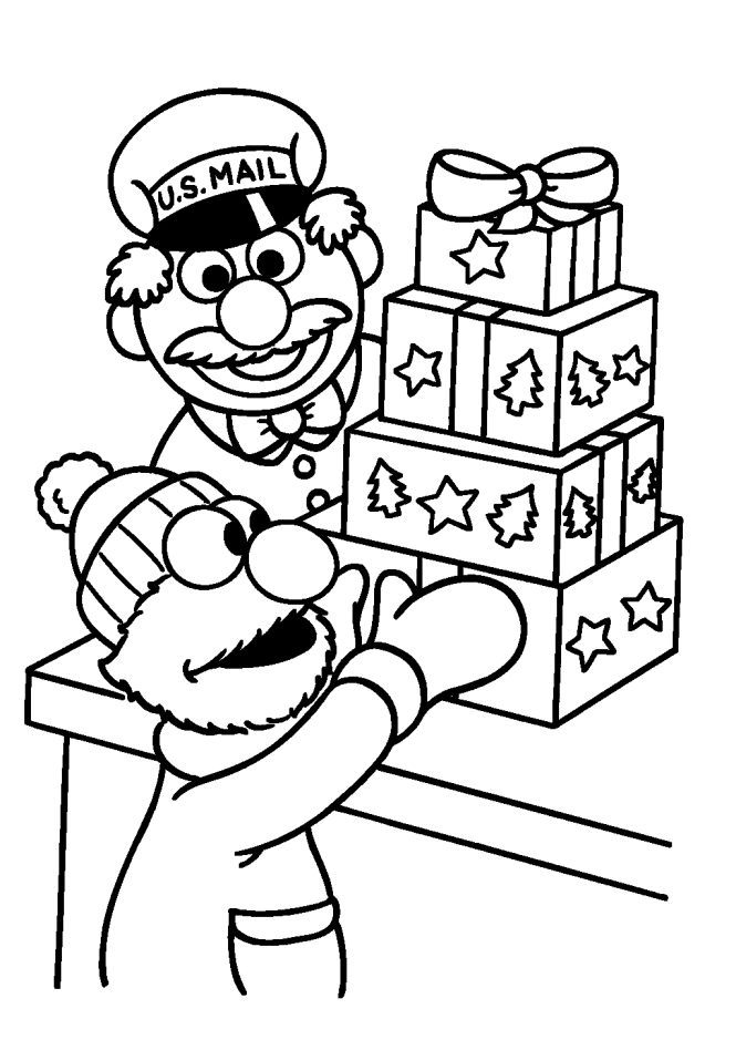 Sesame Street Christmas Coloring Pages | Kid Crafts | Pinterest