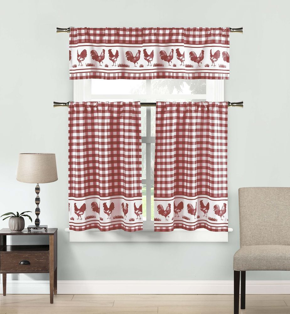 Red and white rooster check kitchen curtain drape tier u valance
