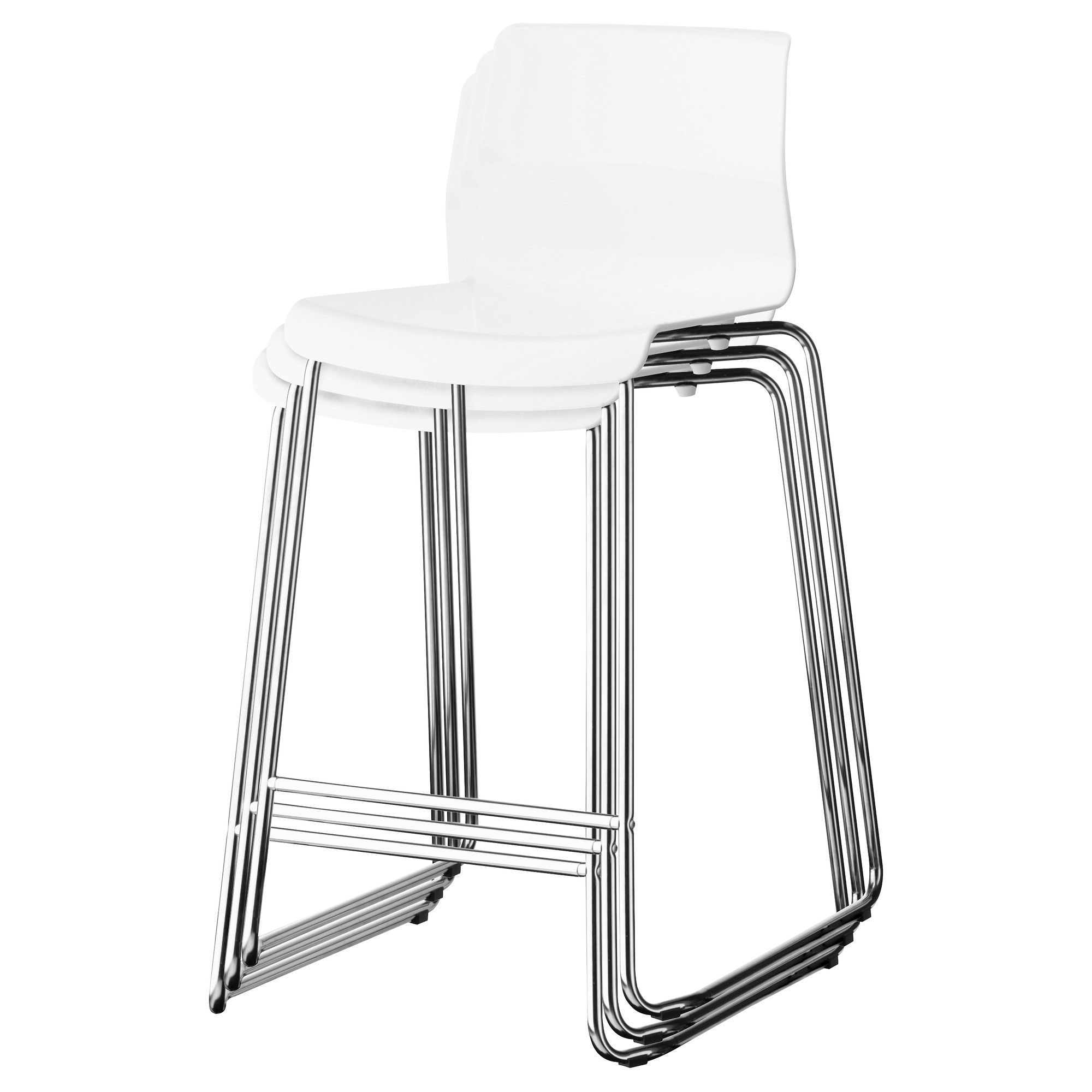 Glenn Bar Stool White Chrome Plated Tabouret Cuisiner