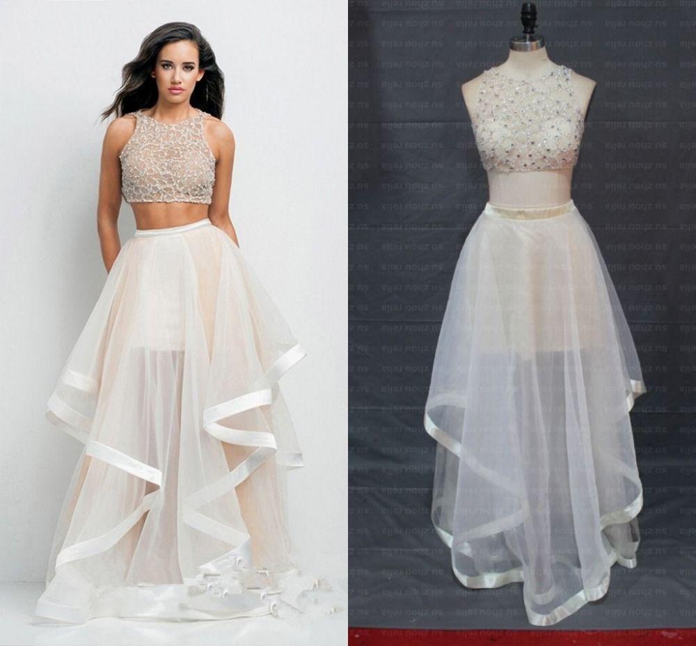 Cheap Blanco de dos piezas 2015 vestido de graduación patrones una  línea O cuello de Organza de partida vestido de fiesta largo  elegante ...