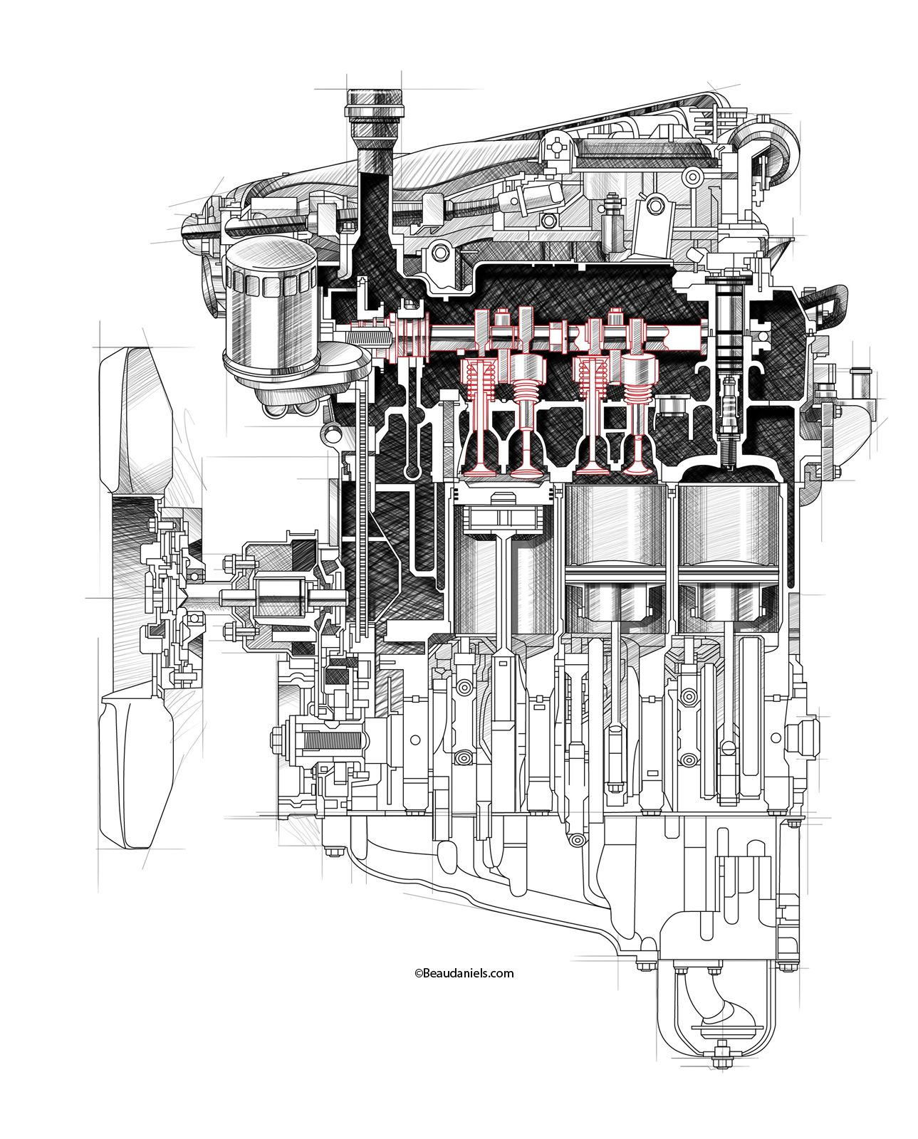 Cutaway And Ghosted Car Engines Produced For Multiple