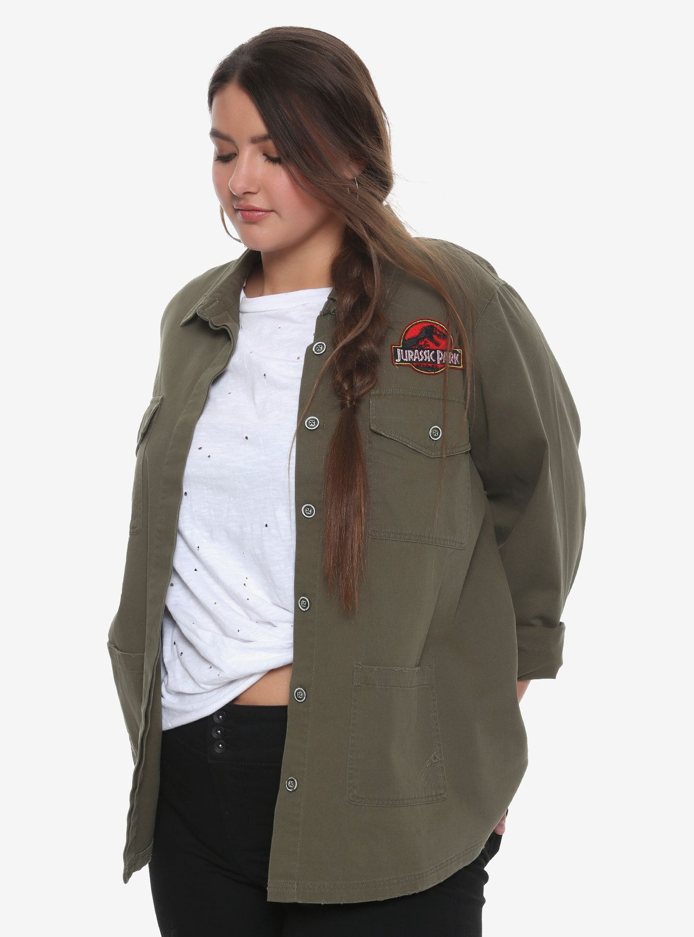 2e7d2a0f490 Jurassic Park Destructed Girls Staff Jacket Plus Size