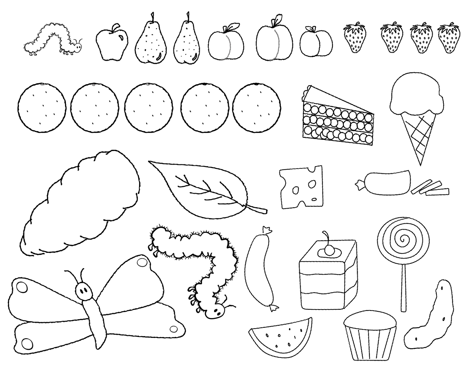 The Very Hungry Caterpillar Activities FREE Coloring Page Of Items In Story
