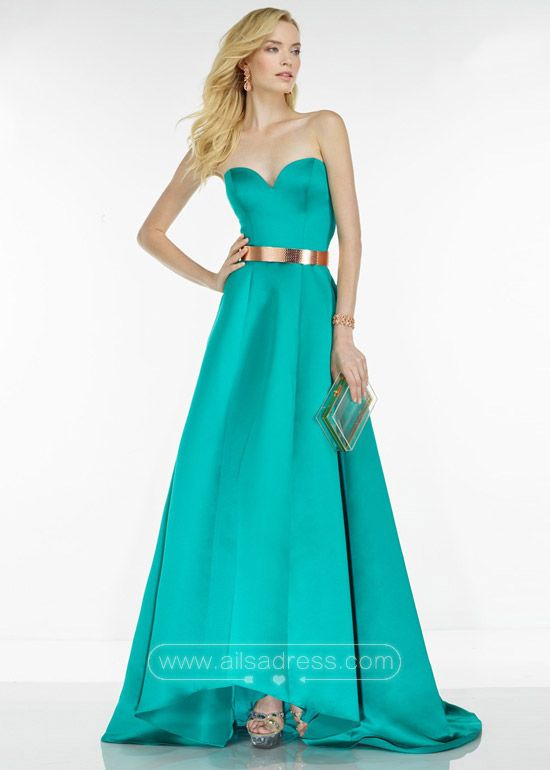 Elegant Simple Long Strapless Jade Cute Gold Belt Prom Dress 2016 ...