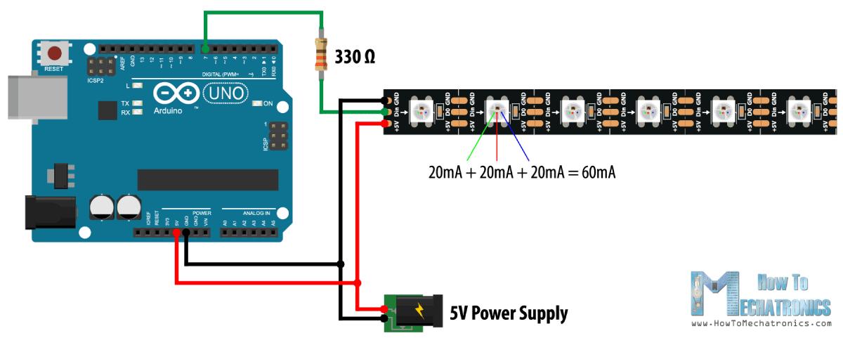 How To Control Ws2812b Individually Addressable Leds Using Arduino Howtomechatronics Arduino Electronic Circuit Projects Arduino Led