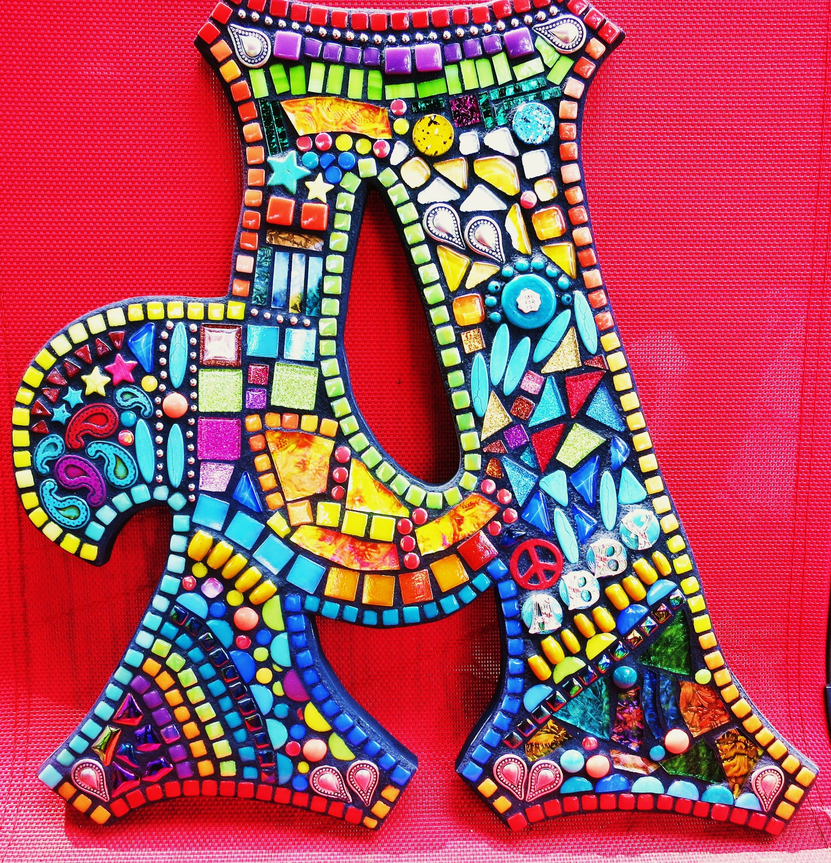 Fliesen Mosaik Hauswand Custom Mosaic Letters Initials Created By Tina Wise