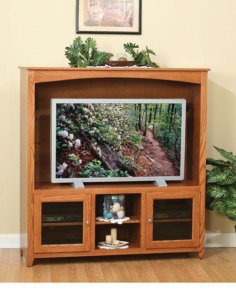 Oak Tv Stand With Glass Doors Entertainment Bar Pinterest