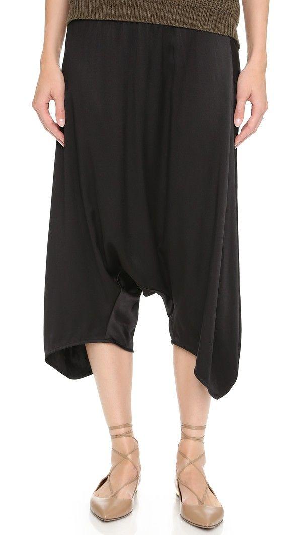 Raquel Allegra Drop Rise Silk Pants - Black