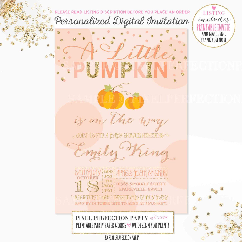Pumpkin Baby Shower Peach Gold Sparkle Pumpkin Baby Shower ...