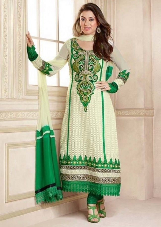 Latest Salwar Kameez Neck Designs Catalogue With Border 2015 Eid