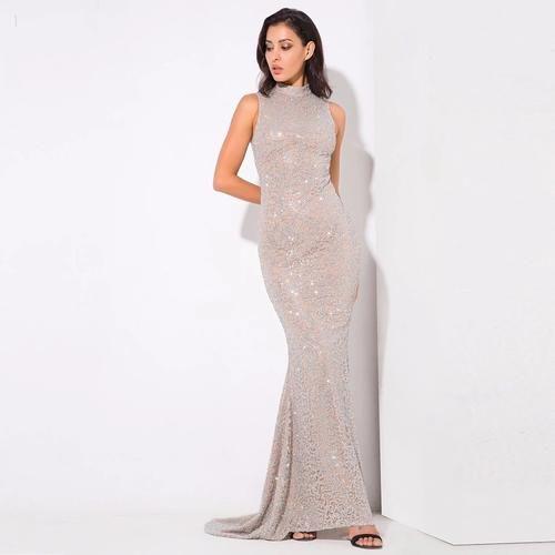 c056439f2a4 Felicia Silver Glitter Embellished Maxi Gown Dress - Fashion Genie Boutique  USA Alt
