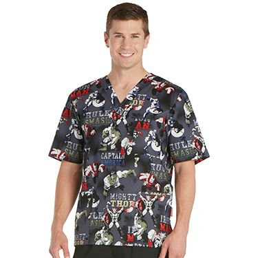 3bfec92f033 A comfortable fit makes the Tooniforms by Cherokee Men's V-Neck Avengers  Print Scrub Top perfect for your busy day. Lots of pockets provide easy  storage for ...
