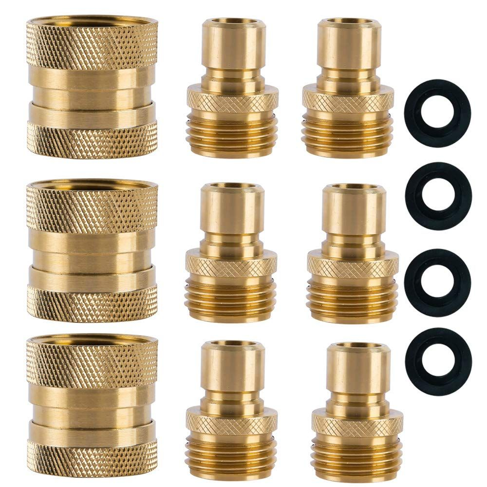 Hqmpc Garden Hose Quick Connect Brass Hose Quick Connectors Water Hose Connector 3 4 3 Female 6 Male Find Out Hose Connector Garden Hose Garden Accessories