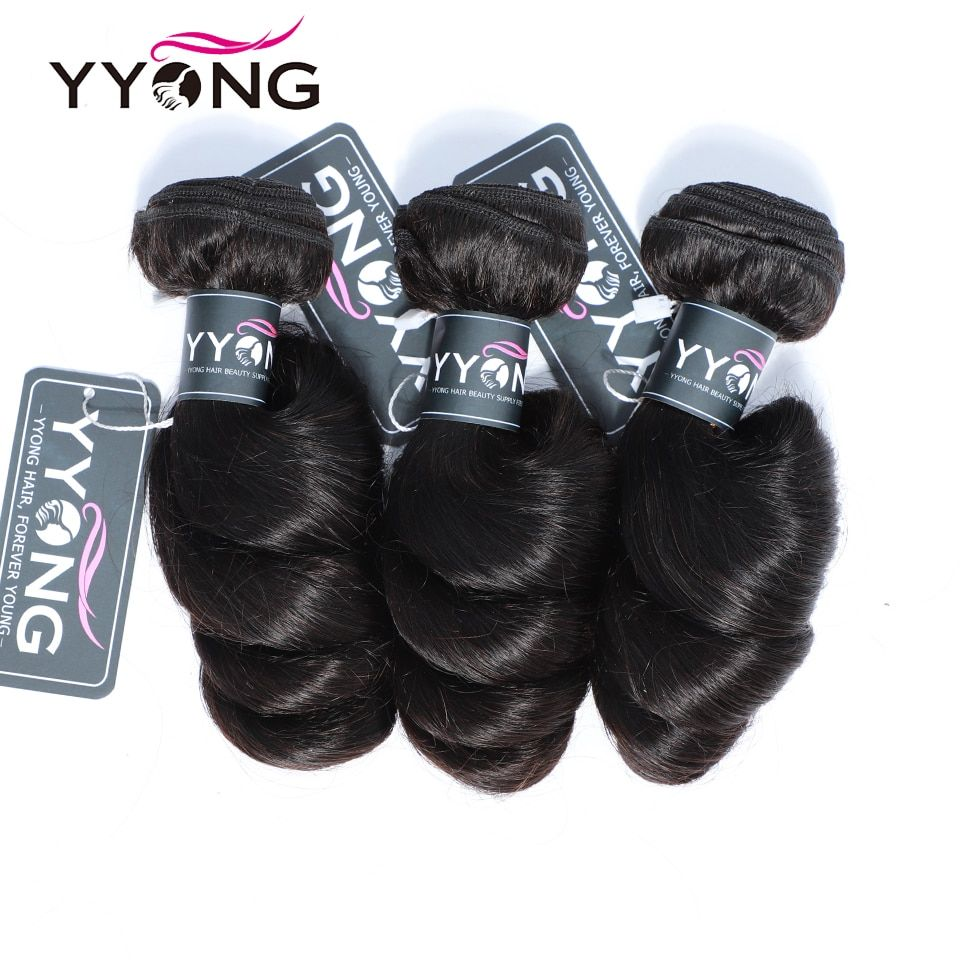 Yyong Brazilian Loose Wave 3 Human Hair Bundles With Lace Closure 4 4 Free Part Natural Co Brazilian Human Hair Weave Brazilian Loose Wave Brazilian Human Hair