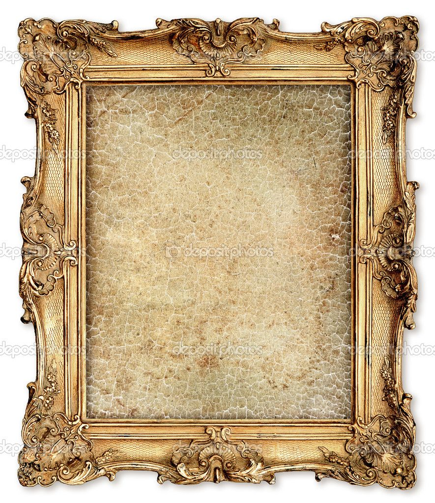 Marco dorado con lona agrietado vacía para tu foto — Foto stock ...