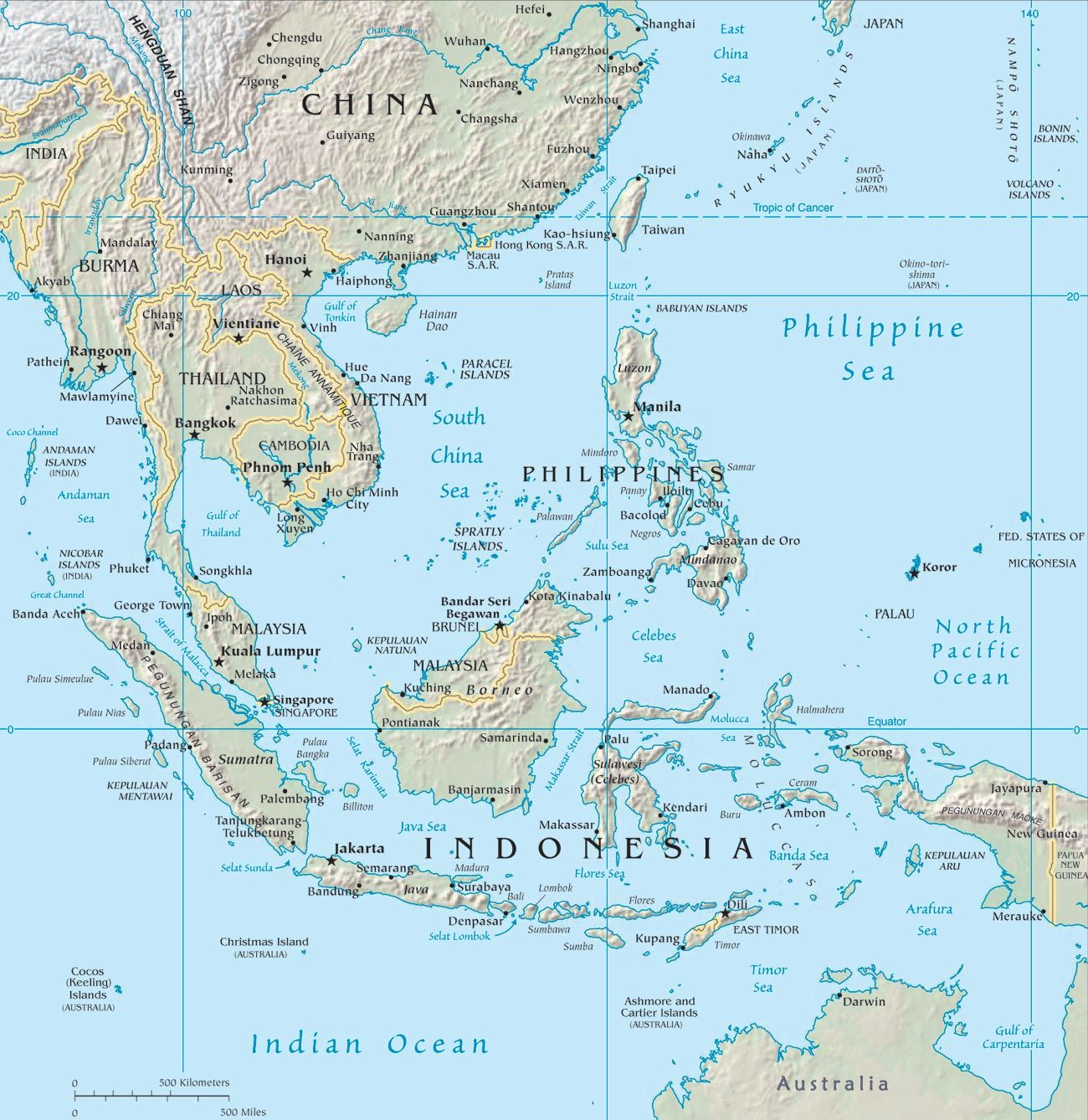 South East Asia Map Anywhere on here is pretty accessible