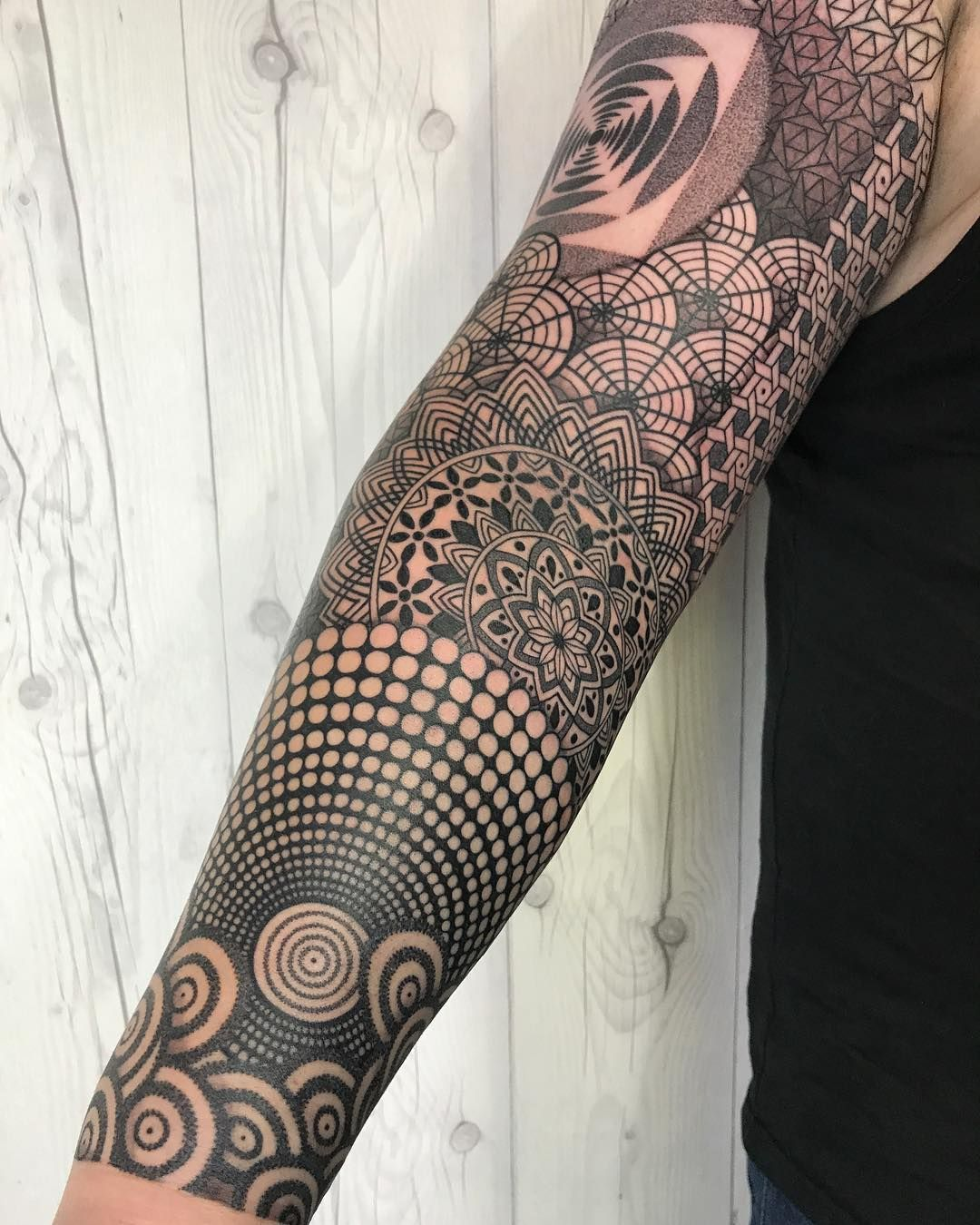 11k Likes 72 Comments Nissaco Nissaco On Instagram Detail Of Full Sleeve On Jason From Sleeve Tattoos For Women Geometric Sleeve Tattoo Geometry Tattoo