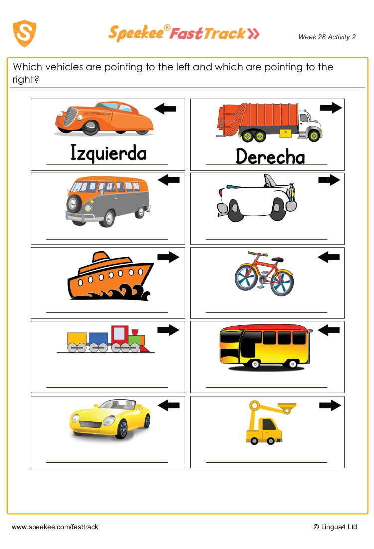 Left And Right In Spanish In 2021 Spanish Printables Spanish Reading Comprehension Spanish Worksheets [ 1100 x 750 Pixel ]