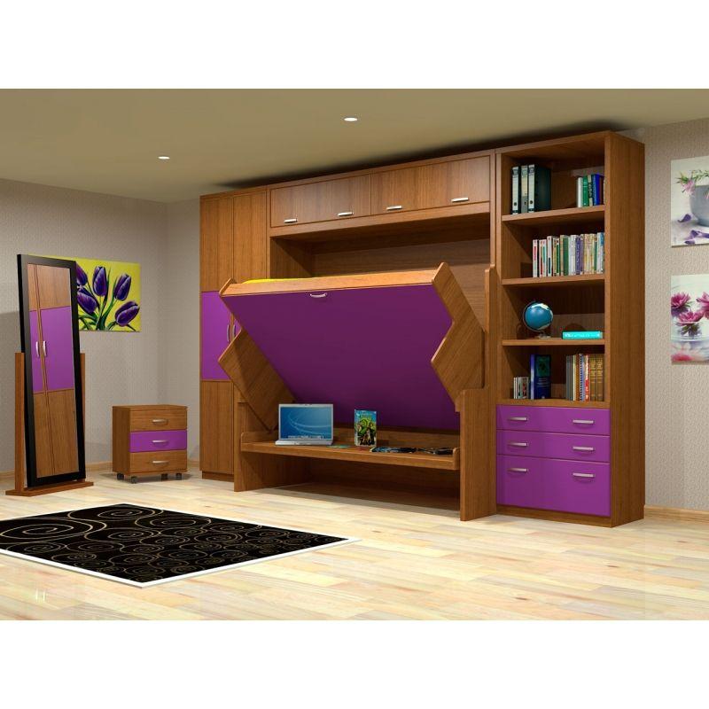 Mueble mesa con cama 135 x 190, puertas altillo, libreria y armario ...