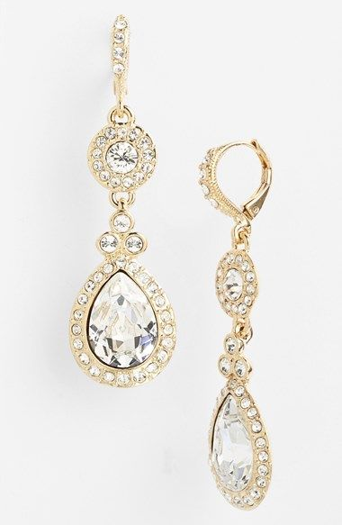 White and Gold Wedding Teardrop Pear Crystal Rhinestone Earrings