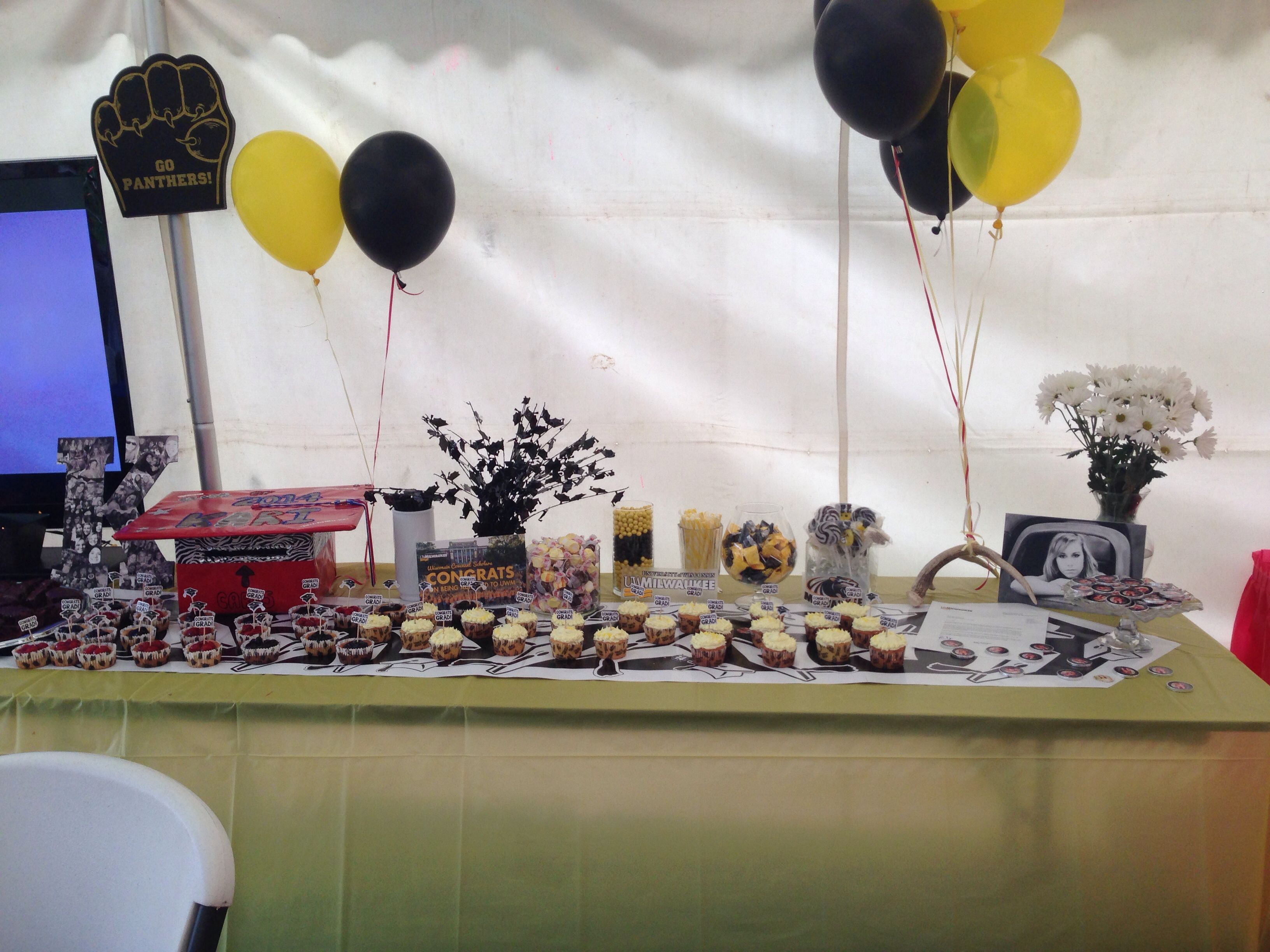 UW Milwaukee Themed Candy Cupcake Table At Graduation Party