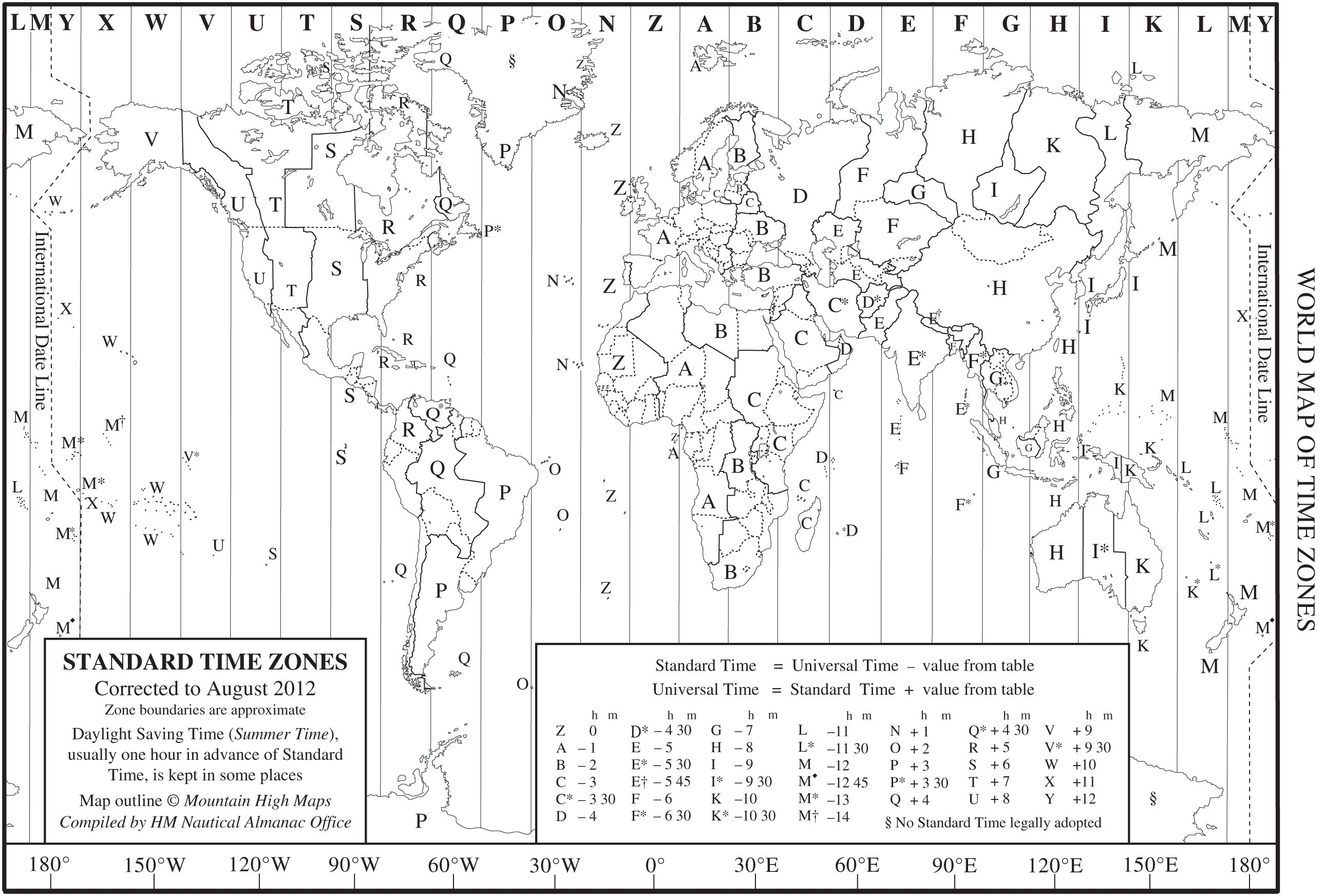 World Time Zone Map as a printable PDF Note that this is