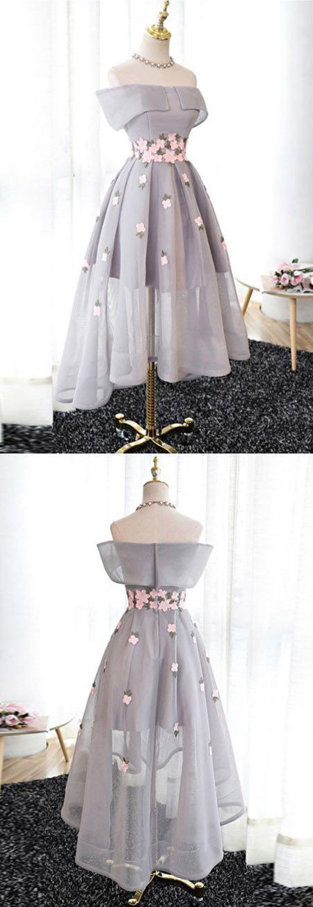 Gray Off Shoulder Embroidery Floral Dipped Hem Mesh Prom Party Dress ...