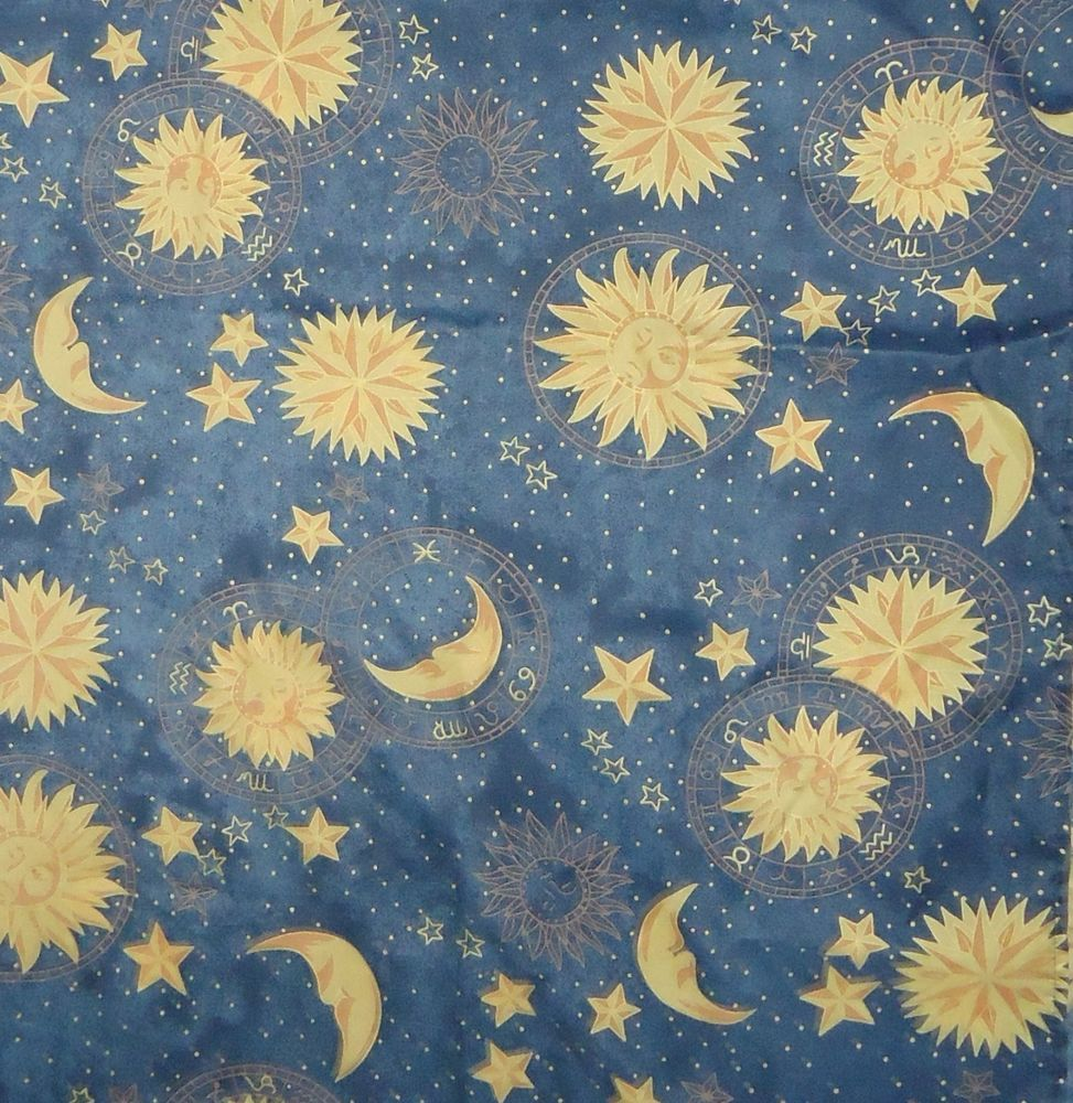 blue celestial fabric shower curtain polyester suns moons stars