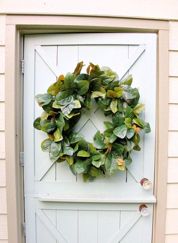 Photo of Magnolia Wreath ~ Spring Wreath ~ Farmhouse Decor ~ Front Door Wreath ~ Modern Farmhouse ~ Fixer Upper ~ Wedding Gift ~ Gift for Her