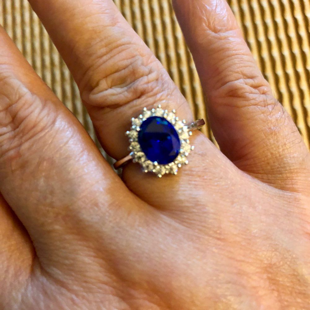 CZCITY Princess Diana William Kate Diamond Rings Sapphire