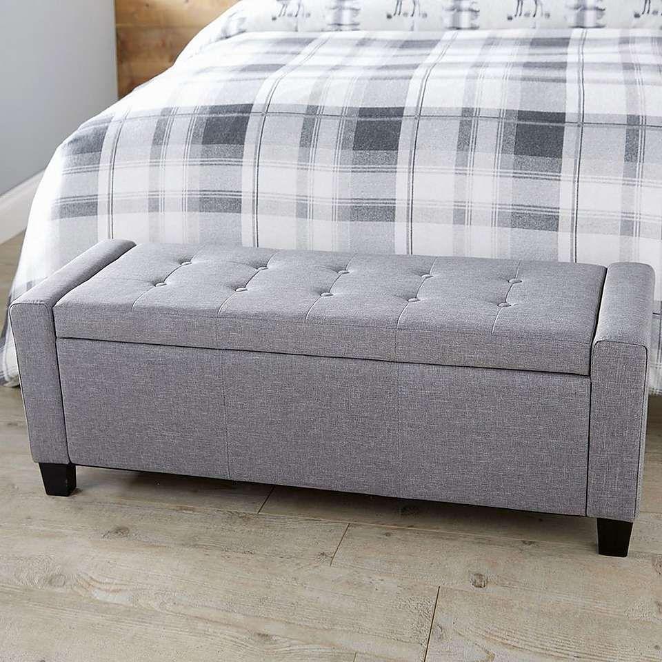 Verona Upholstered Ottoman In Grey Dunelm Storage Bench Seating Storage Bench Bedroom Upholstered Ottoman