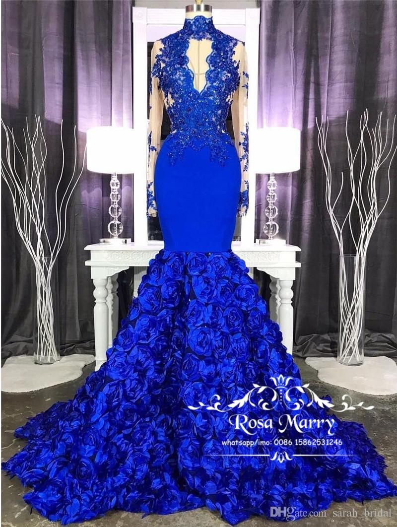 Royal Blue 3d Floral Mermaid Prom Dresses 2k19 High Neck