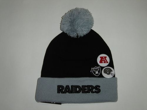 New Era NFL Oakland Raiders Team Button Up Cuffed Knit Pom Beanie with 3  Pins NewEra df0753b60