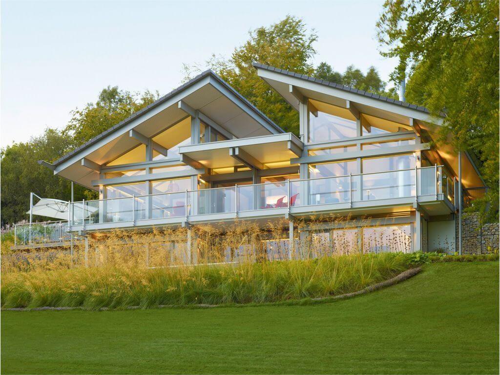 luxus fachwerkhaus art 6 9 von huf haus glas fassade fachwerk garten terrasse pultdach. Black Bedroom Furniture Sets. Home Design Ideas