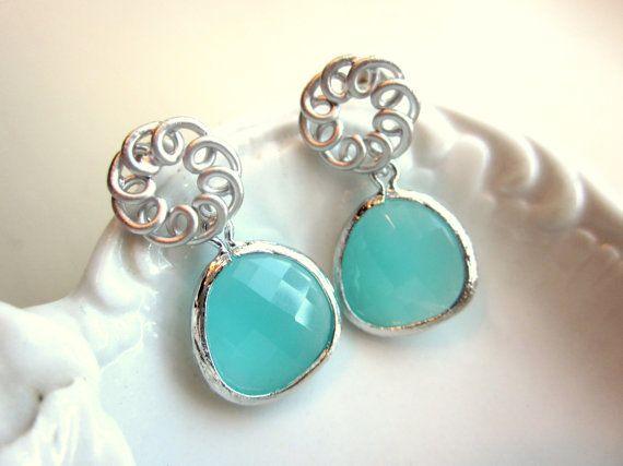 Aqua Blue Mint Earrings Silver Circle  Sterling Silver by laalee, $32.00