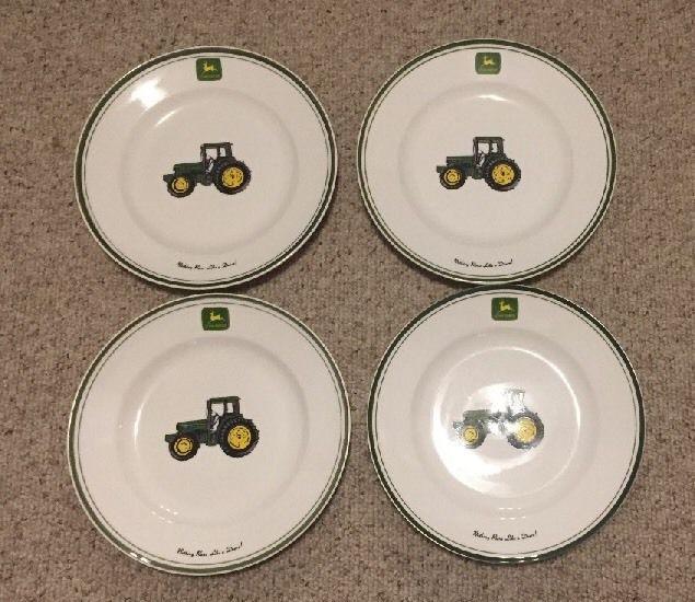 "4 Piece Set Gibson JOHN  DEERE Tableware Dinner Plates  11 1/4""  Nice! #Gibson"