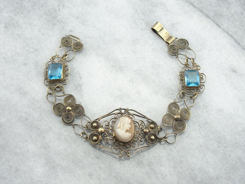 Antikes Messing und Glas filigrane Armband mit von MSJewelers
