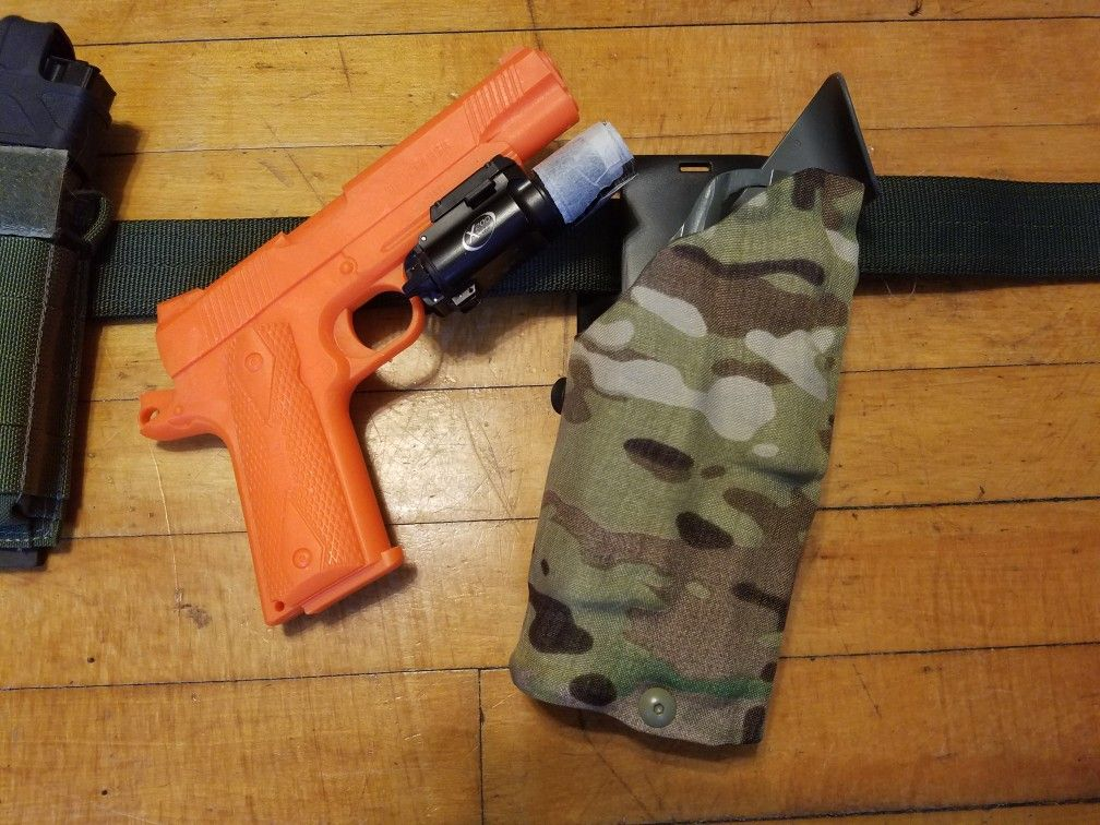 7ee0cd28ea5 Safariland holster wrapped in genuine Crye Multicam 330D Cordura for the  1911 Operator with weaponlight