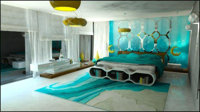 colores para habitaciones, propuesta fresca de dormitorio moderno