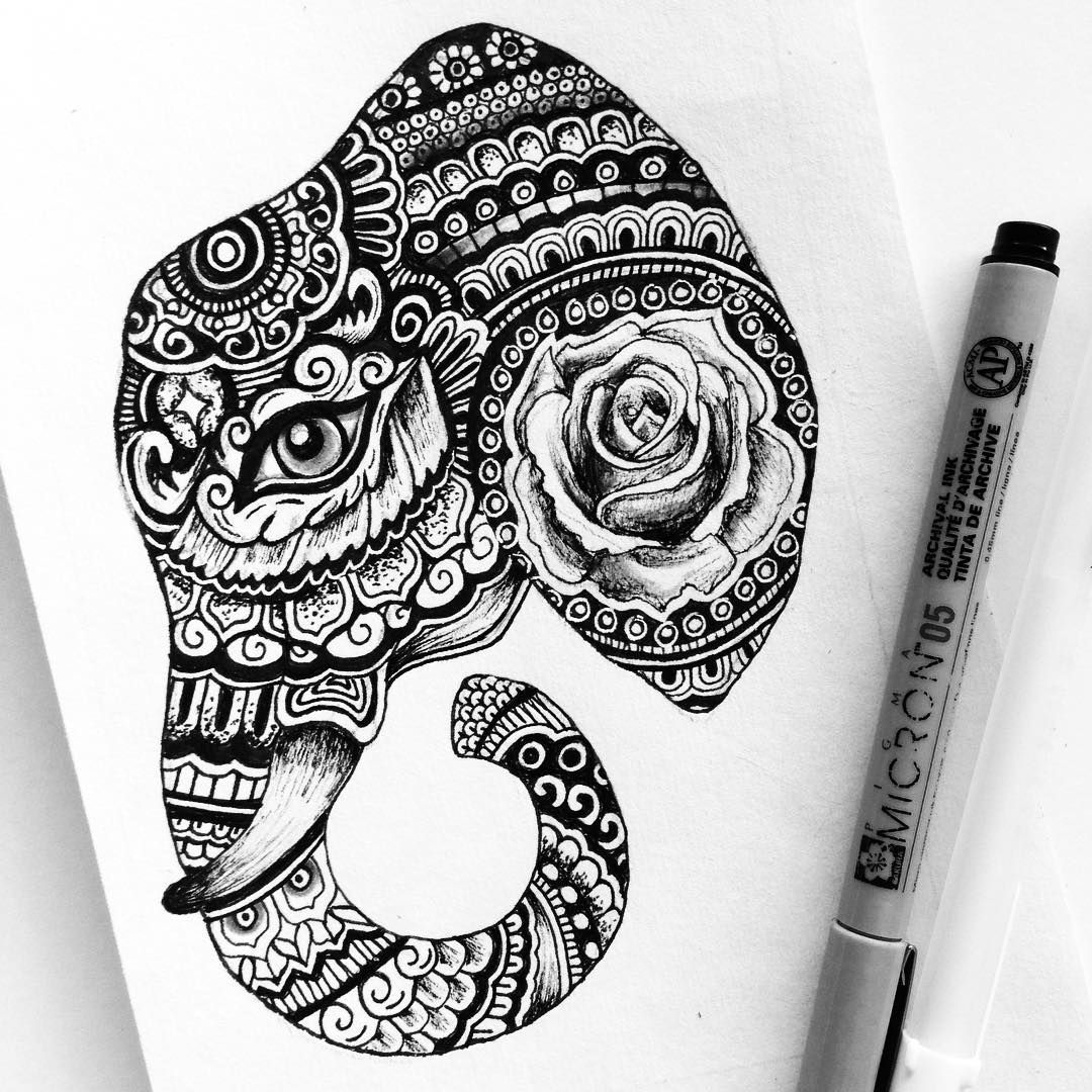Rose Elephant Micron Pen Drawing Art Doodle