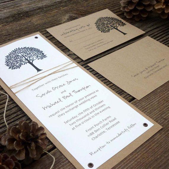 Fall Wedding Invitations . Wedding Invitations . Wedding Invites . Rustic Wedding Invitations . Tree Wedding Invitations . Twine Wrapped on Etsy, $2.95