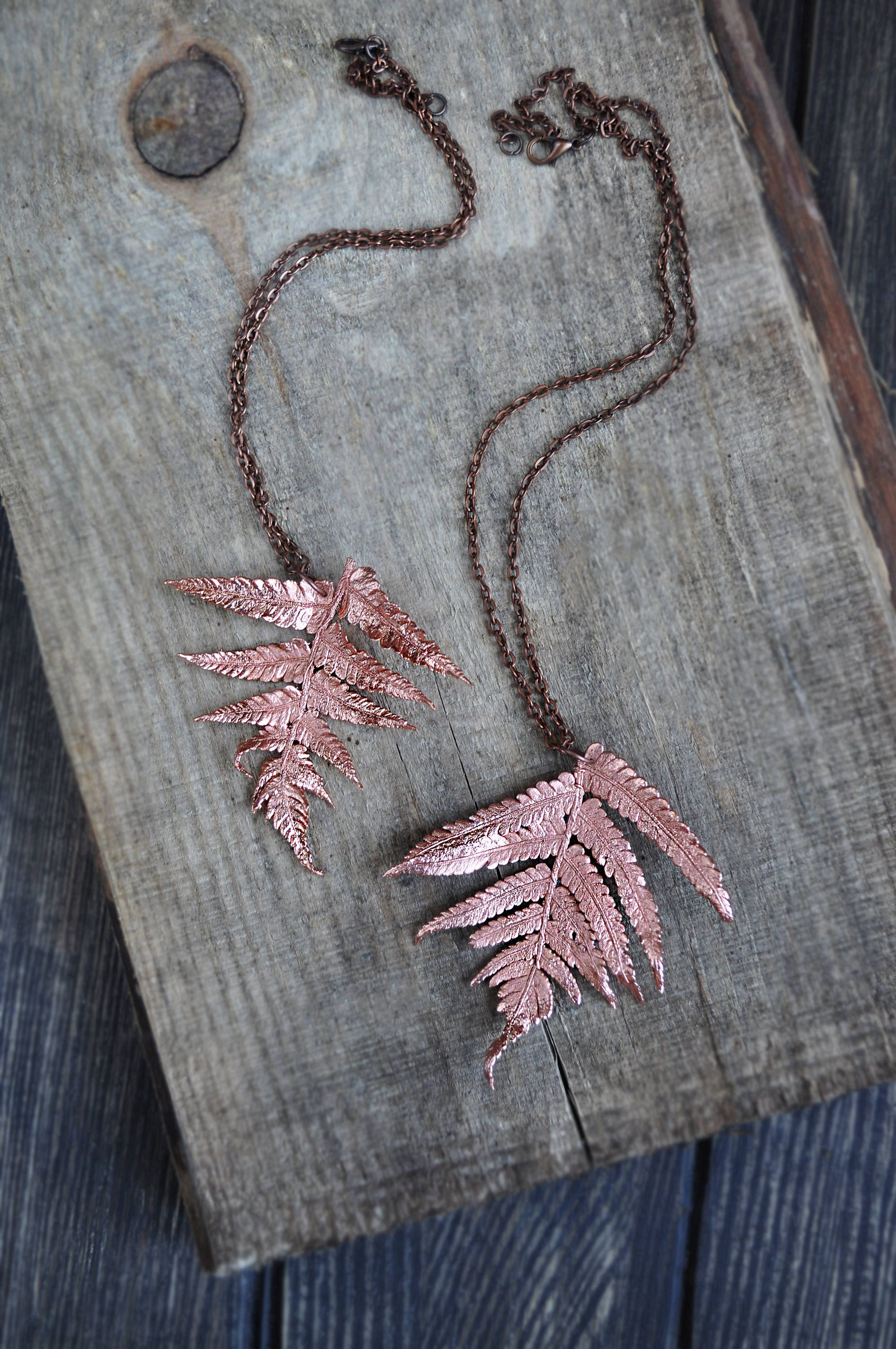 Real fern leaf pendant electroformed leaves copper | My works ...