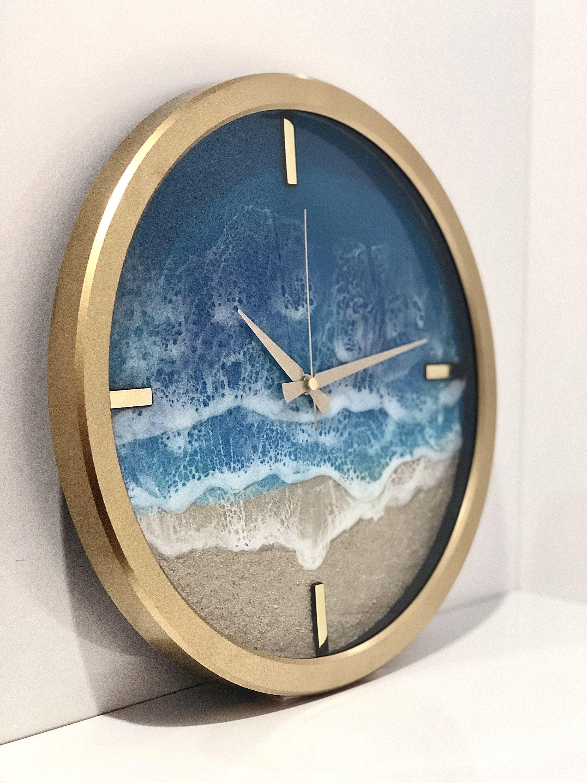 Beach Wall Clock Gold/ Kumaal Duvar Saati Handmade custom design ...