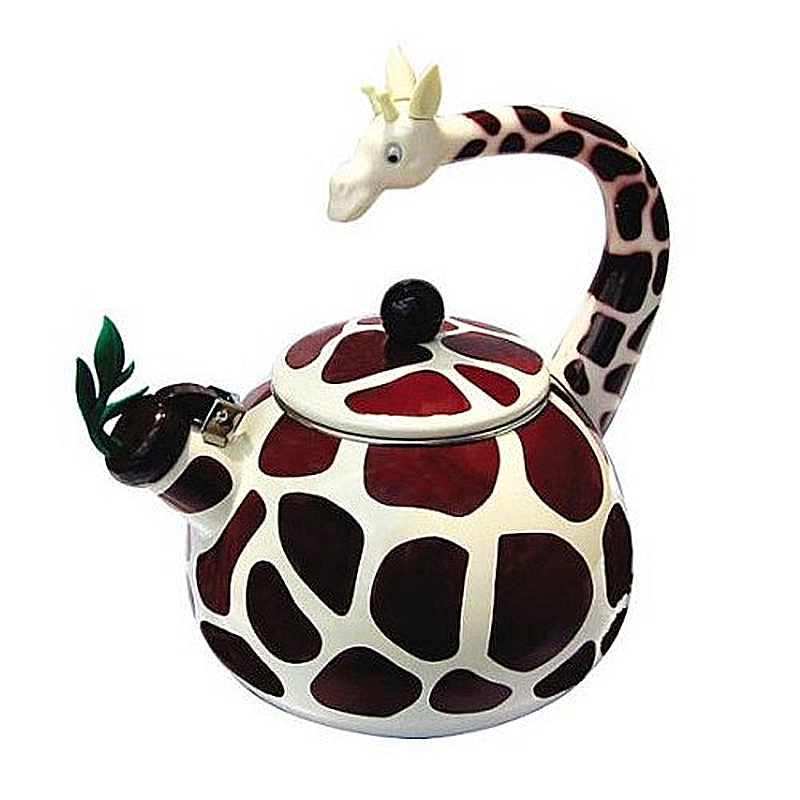 Giraffe Whistling Tea Kettle  ..  Boiling water has never been this fun! The giraffe tea kettle is enamel on stainless both inside and out, and the handle, spout and knob are durable plastic. Comes in an attractive gift box for some lucky recipient.