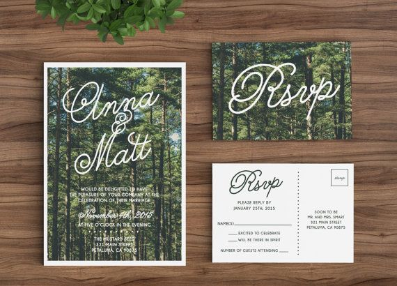 Wedding Invitation Template Printable Rustic Forest